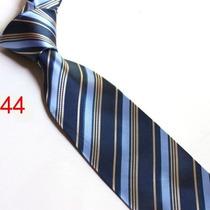 Gravata Seda Listras Azul Marinho Dourado Feita Mão Gvt 693