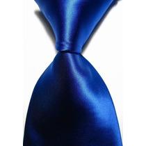 Gravata Seda Lisa Azul Royal Feita Mão Gvt 715