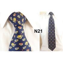 Gravata Vintage Azul 100% Seda Pura Estampa De Sapo N21