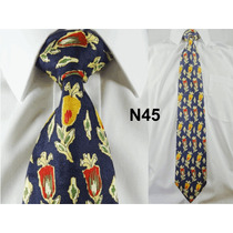Gravata Vintage Azul 100% Seda Pura Estampa Flores N45