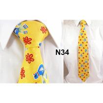 Gravata Vintage Amarela 100% Seda Pura Estampa Passaro N34