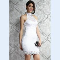 Estiloso Vestido Frente Unica De Renda Floral Importada!!!