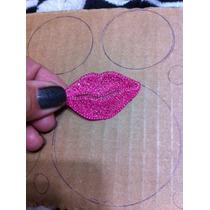 Aplique Bordado P/roupas, Boca Pink - R$ 3,00