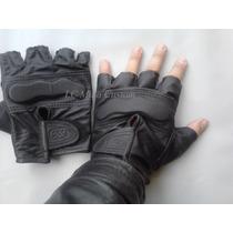 Luvas Meio Dedo-couro-alta Proteção Para Mãos-motos-custom