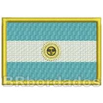 Bin032 Bandeira Argentina Patch Bordado Mochila Bolsa Viagem