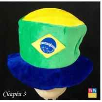 Chapéu De Pelúcia Do Brasil Verde E Amarelo Vivishop