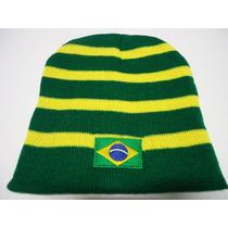 Touca Gorro Do Brasil Listrada Bandeira Na Fremte