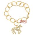 Pulseira Argola C/ Cavalo E Detalhe Em Pedras - Hot Horse