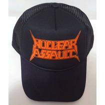 Boné Trucker Cap Tela Aba Curva Nuclear Assault Trash Metal