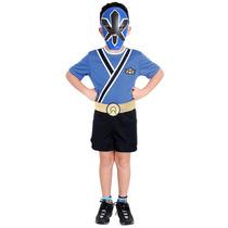 Fantasia Power Ranger Samurai Azul Infantil Completa Pop