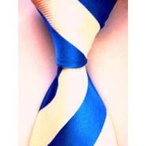 Gravata Seda Listras Largas Azul Royal Branco Gvt 639