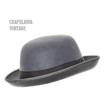 Chapéu Chaplin Coco Bowler Feltro Cor Cinza
