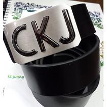 Cinto Calvin Klein Ck Fivela Quadrada Brilho - Coleção Nova