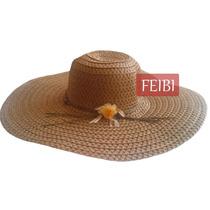 Chapéu Moda Praia Feminino Grande Palha Marrom Viseira