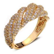 Anel Semi-jóia 14 Unique Zircônias E Ouro