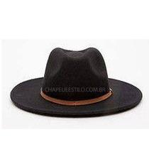 Chapéu Fedora Masculino Feminino Preto Hat Aba Grande
