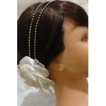 Arranjo Tiara Noiva Rosa Cetim Renda E Strass- Headband