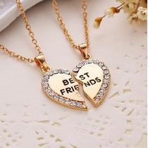Colar Best Friends 2 Partes Coração Strass Dourado