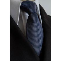 Gravata Azul Petroleo Semi Slim Com Nó