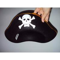 Chapéu De Pirata Em Feltro Acabamento Dourado Unisex