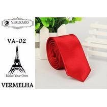 Gravata Vermelha Slim Fit Importada P Casamento / Padrinho