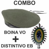 Combo Boina Francesa Lyon Verde Oliva + Distintivo Exército