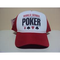 Boné Poker World Series Stars Vermelho Trucker Frete Gratis