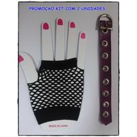 Luva Arrastão Curta - Punk Rock Gótica + Bracelete Roxo