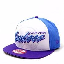 Boné New York Yankees White/blue Snapback Aba Reta Original