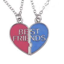 Colar Best Friends 2 Partes Corações Rosa E Azul