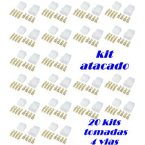 Super Kit 20 Conector Tomada 4 Vias Completas