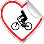 Adesivo Bici Bike Carro Coração Mulher Homem Casal 5 X 5 Cm