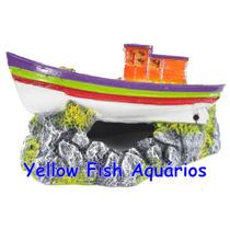Enfeite Para Aquário Barco Pesqueiro Reduzido - Aquária B06