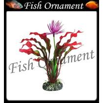 Enfeite Soma Planta Echinodorus Com Flor 20cm Fish Ornament