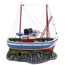 Enfeite Para Aquario Barco Rede Pesca - Aquaria B29