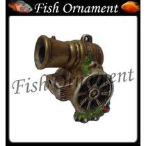 Enfeite Ceramica Canhão Grande Decorado Fish Ornament
