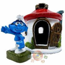 Enfeite De Resina Para Aquário Smurf + Casa P17