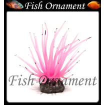 Enfeite Silicone Anemona Long Tentacle Rosa Fish Ornament