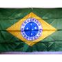 Bandeira Brasil Cetim Simbolo Escudo Do Cruzeiro 140cmx 90cm