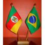 Kit Bandeira Oficial De Mesa Com 2 Mastros- Alt 31cm