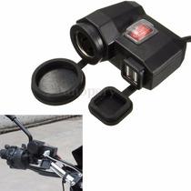 Tomada Auxiliar 12v 5v Usb Dupla Moto Quadriciclos Guidon
