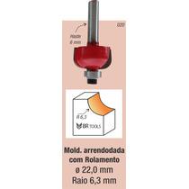 Fresa Tupia Borda Meia Cana Rolamentada 6,35mm Haste 6mm