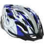 Capacete Ciclista Tamanho G 58-60 Azul Com Branco E Prata