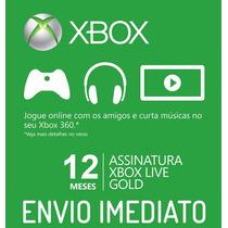 Xbox Live Gold Americano Us Cartão De 12 Meses Envio Na Hora