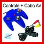 Kit Controle + Cabo Av Audio E Video N64 Nintendo 64