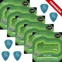 5 Dunlop 1.14mm + 5 Encordoamentos Groove 011 Gs3x Guitarra