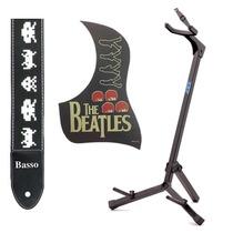 Correia Alça Violão Guitara Baixo+ Escudo Beatles+ Pedestal