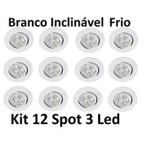 Kit 12 Luminárias Embutir Spot 3 Led Inclinável Branco Frio