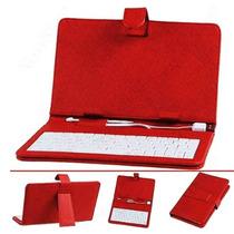 Capa Case De Couro Com Teclado Usb Tablet 7 Pol Universal