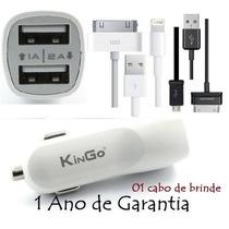 Original Carregador Veicular Ipad Tablet 2 Usb + Brinde Cabo